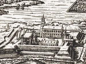 Рис. 1. Дворец на гравюре Т. Маковского (начало XVII в.)