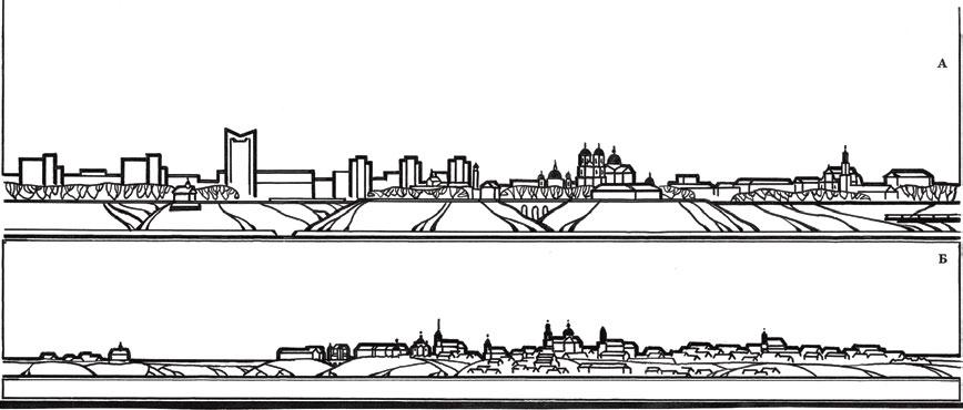 Силуэт застройки Гродно: А – проектный по генплану 1973 г.; Б – сложившийся к концу XVIII в. Традиционный плоский рисунок на плоскости не дает правильного представления