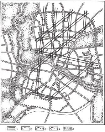 Гродно. Сеть ведущих пространственных связей крупного городского комплекса, проектируемого по генплану 2003 г., на схеме функционального зонирования территории. Она преемственно развивает исторически сложившуюся структуру взаимосвязей архитектурных доминант. 1 – ведущие пространственные связи; территории; 2 – жилые; 3 – промышленные; 4 –общественные центры; 5 – озелененные пространства