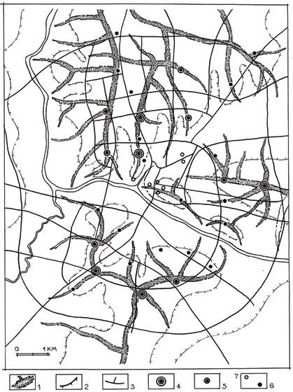 Гродно. Прогнозируемая система высотных доминант органично взаимодействует с планировочной структурой и пространственно-размерными особенностями рельефа. 1 – основные водоразделы, дифференцированные по отметкам рельефа; 2 – бровка верхнего плато; 3 – основные магистрали; 4, 5, 6 – высотные доминанты 1, 2 и 3-го порядков; 7 – сохранившиеся исторические вертикали