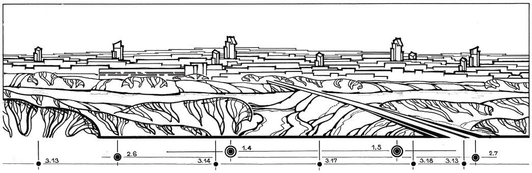 Гродно. Контрольная панорама размещения высотных доминант в Занеманье (вид от рынка). Хорошо читается цепочка архитектурных вертикалей высших категорий по контуру природного амфитеатра