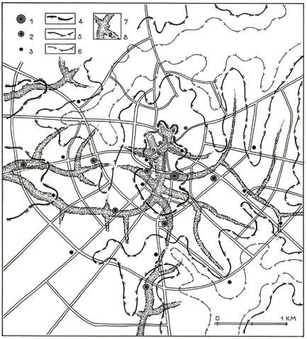 Новогрудок. Лаконичная система высотных доминант среднего города увязана с планировочной структурой и пространственно-размерными закономерностями рельефа. 1, 2, 3 – высотные доминанты 1, 2 и 3-го порядков; 4, 5, 6 – структура террас природных склонов; 7 – основные водоразделы, дифференцированные по отметкам рельефа; 8 – сохранившиеся исторические вертикали