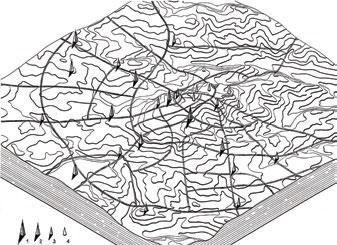 Новогрудок. Аксонометрическая реконструкция городского комплекса с изображением системы высотных доминант на планировочной структуре и топографической поверхности. 1, 2, 3 – прогнозируемые высотные доминанты 1, 2 и 3-го порядков; 4 – сохранившиеся исторические вертикали