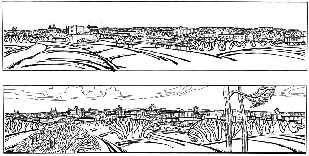Новогрудок. Контрольная панорама городского центра наглядно демонстрирует значение организованного размещения высотных доминант для целостности и выразительности застройки