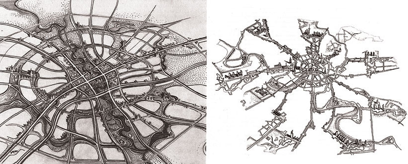 Композиция города – это система архитектурных ансамблей. Эскиз размещения основных архитектурных ансамблей Минска (по Л. Потапову). Справа – аналогичный эскиз, выполненный для Москвы