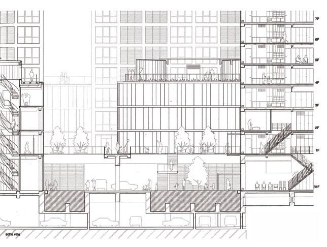 Рис. 10. Jian Way SOHO, жилой комплекс. Фрагмент разреза. Архит. Рикен Ямамото. Пекин, 2006 г.
