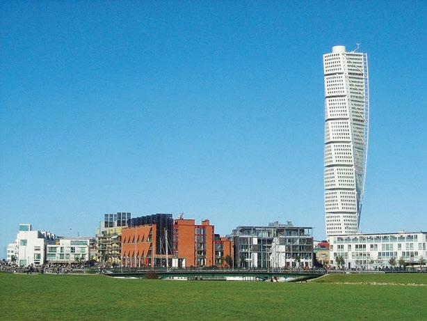 Рис. 15. Turning Torso. Второе по высоте жилое здание в Европе (54 этажа, 190 м). Архит. Сантьяго Калатрава. Мальмё, Швеция, 2005 г.