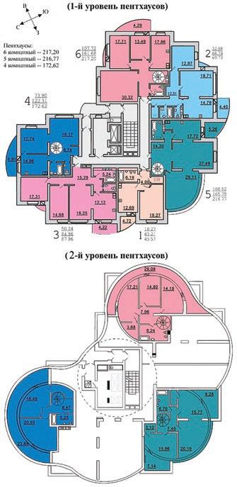 Рис. 17. Жилой дом по ул. В. Хоружей, Минск. Внешний вид, план 16–17-го этажей