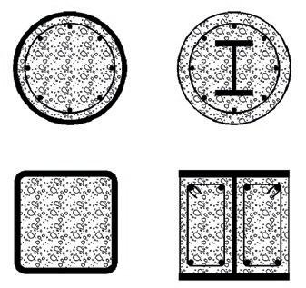 Рис. 5. Варианты поперечных сечений сталебетонных колонн высотных зданий