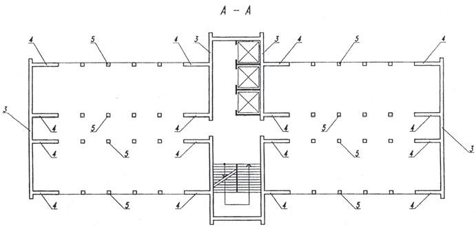 Рис. 2. План типового этажа несущего модуля по А–А