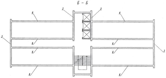 Рис. 3. План нижнего и верхнего этажей несущего модуля по Б–Б