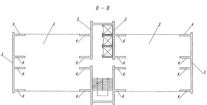Рис. 4. План разделительного этажа между несущими модулями по В–В