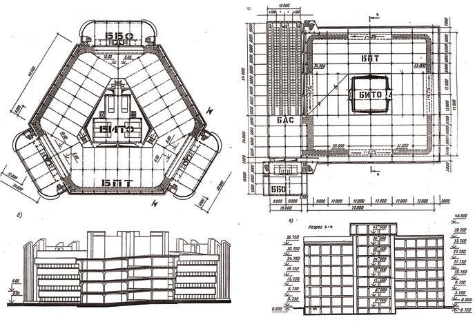 """Проект экспериментального """"здания нового поколения"""", СССР"""