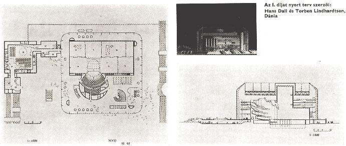 Конкурсный проект Белградской оперы. Первая премия: архит. Г. Далл и Т. Линдхардстен. Дания, 1971 г.