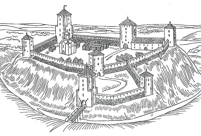 Навагрудскi замак. Рэканструкцыя па матэрыялах М.А. Ткачова. Мал. Я. Кулiка
