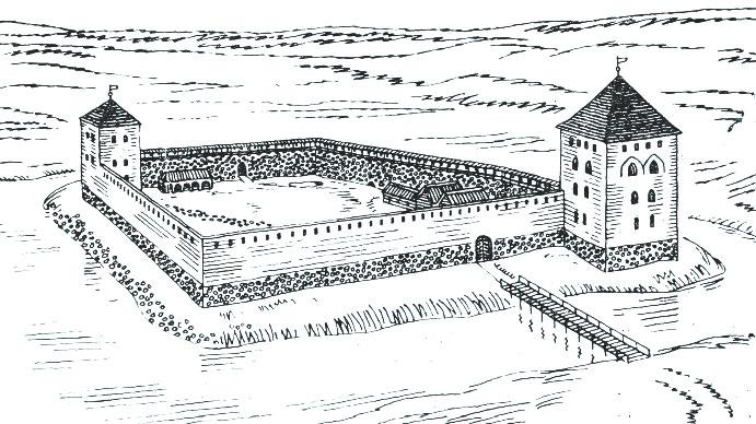 Крэўскi замак. Рэканструкцыя па матэрыялах М.А. Ткачова. Мал. Я. Кулiка
