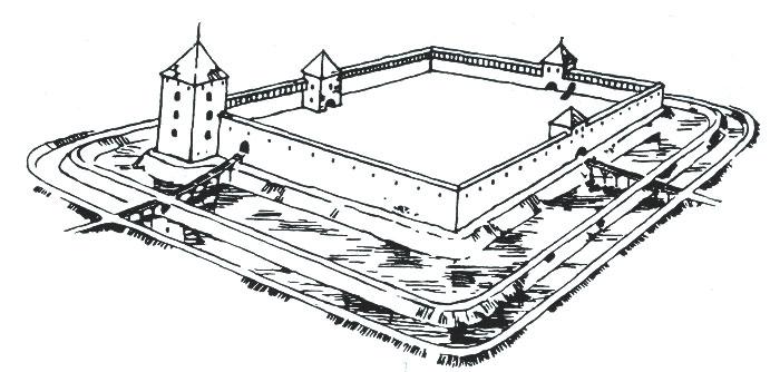Мядзiнiнкайскi замак. Рэканструкцыя С. Абрамаўскаса