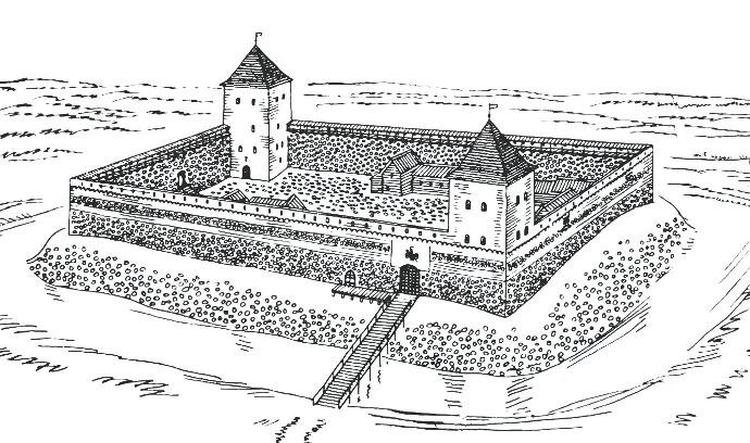 Лiдскi замак. Рэканструкцыя па матэрыялах М.А. Ткачова. Мал. Я. Кулiка