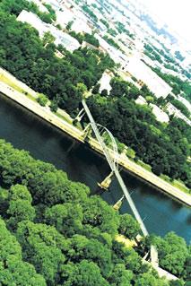 4. Пешеходный висячий мост в Гомеле через реку Сож