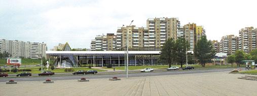 Торговый центр с офисными помещениями и паркингом по пр. Машерова. Проект. Архит. В. Рондель