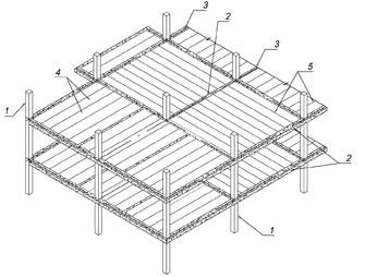 Рис. 1. Принципиальная схема сталебетонного каркаса: 1 — стальные (сталебетонные) колонны; 2 — несущие ригели; 3 — связевые ригели; 4 — газобетонные плиты перекрытия; 5 — межплитные швы